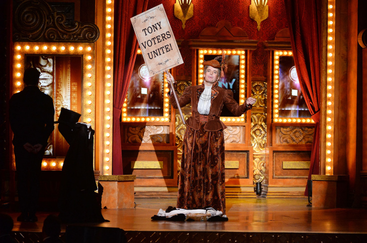 Lisa O'Hare, Bryce Pinkham and Lauren Worsham of 'A Gentleman's Guide To Love and Murder' perform onstage during the 68th Annual Tony Awards at Radio City Music Hall on June 8, 2014 in New York City.