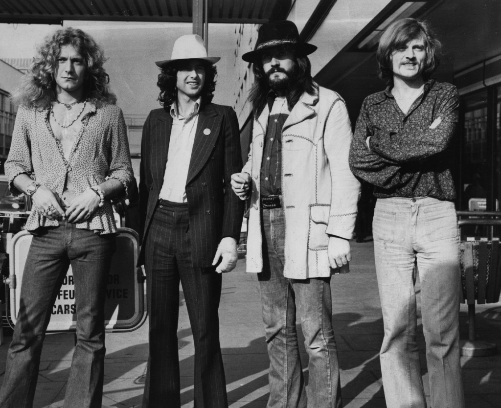 June 1973: British rock band Led Zeppelin. From left to right, Robert Plant, Jimmy Page, John Bonham (1947 - 1980), John Paul Jones.