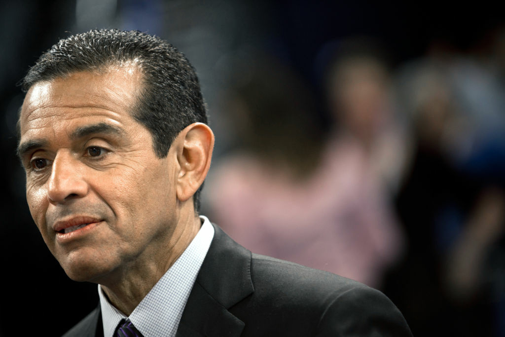 Los Angeles Mayor Antonio Villaraigosa is interviewed on the floor of the Time Warner Cable Arena Sept. 2, 2012 in Charlotte, North Carolina, site of the Democratic National Convention (DNC).