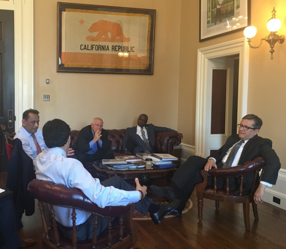 A group of Los Angeles officials, including Councilman Gilbert Cedillo, met with state leadership Monday, May 23, 2016 to lobby for funds for affordable housing and homelessness.