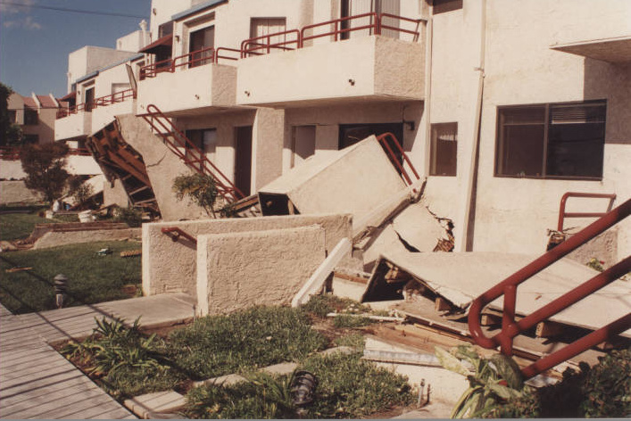A university dormitory damaged by the earthquake.