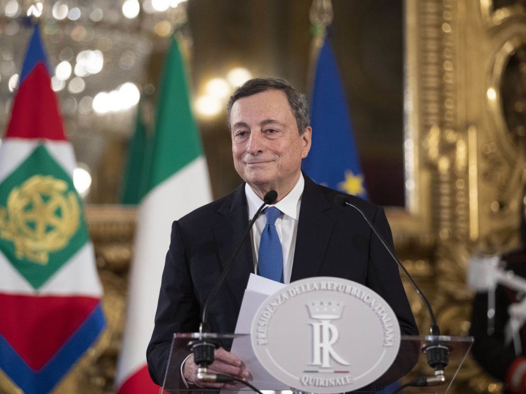 Former head of the European Central Bank Mario Draghi gives a press conference after a meeting with the Italian president, at the Quirinal Palace in Rome on Wednesday.