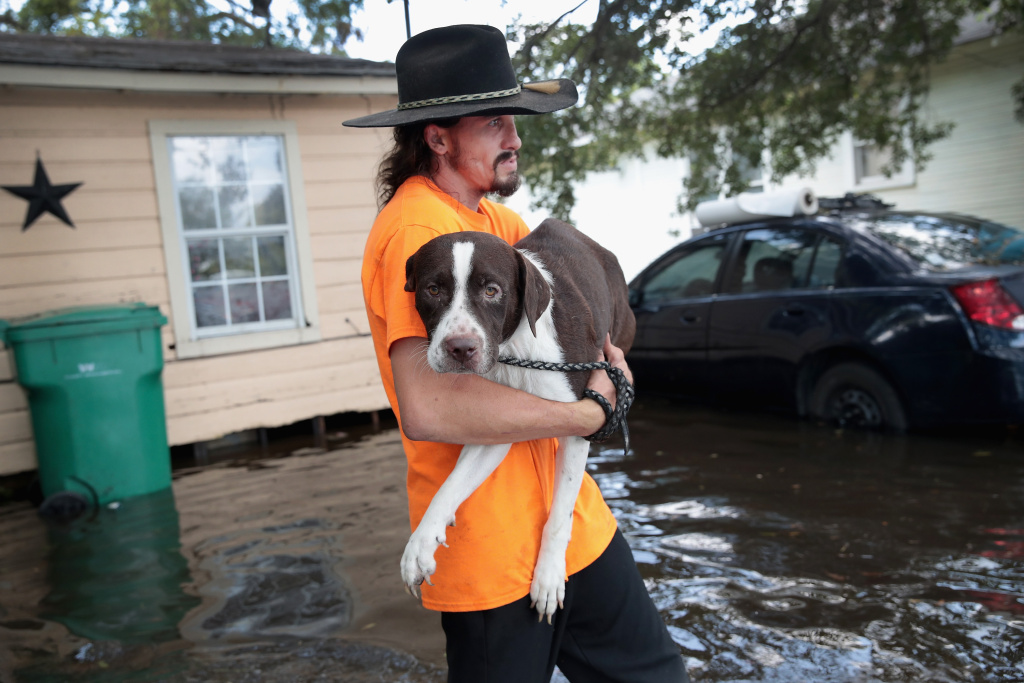 A resident carries his dog to a rescue boat from his home which is surrounded by floodwater after torrential rains pounded Texas following Hurricane Harvey.