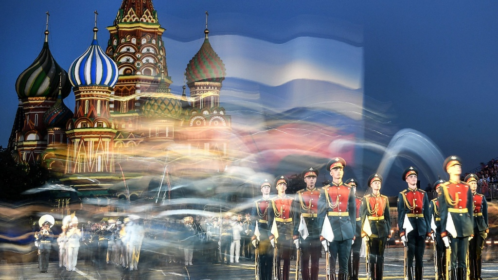 Russian honor guards perform during an international military and music festival on Moscow's Red Square in August.