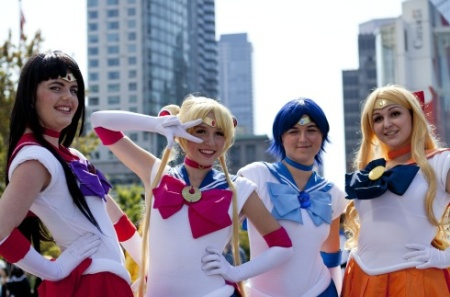 """Sailor Moon"" cosplayers at Anime Revloution 2014 in Vancouver, Canada."