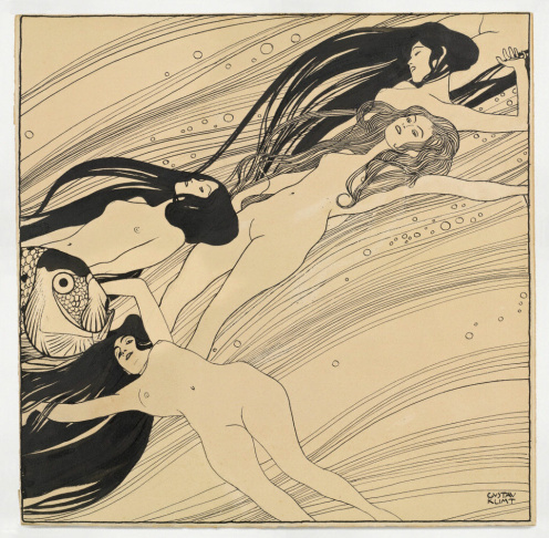 Gustav Klimt. Fishblood, 1898. India ink and pen on brown paper. Private collection, courtesy Galerie St. Etienne, New York.