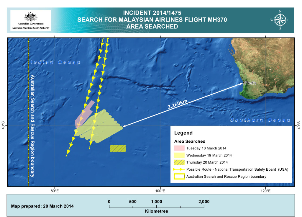 INDIAN OCEAN - This handout Satellite image made available by the AMSA (Australian Maritime Safety Authority) shows a map  of the areas searched between March 18 and March 20, 2014 for missing Malaysian Airlines Flight MH370. Two objects possibly connected to the search for the passenger liner, missing for nearly two weeks after disappearing on a flight from Kuala Lumpur, Malaysia to Beijing, have been spotted in the southern Indian Ocean, according to published reports quoting Australian Prime Minister Tony Abbott. (Photo by AMSA via Getty Images)