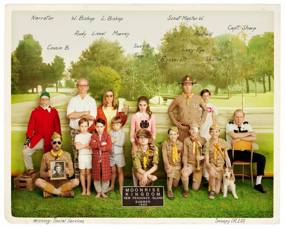 "Promotional image of the cast of Wes Anderson's ""Moonrise Kingdom."""