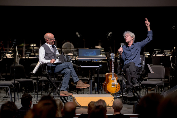 Frame host John Horn talks with Police drummer Stewart Copeland before his live score performance of
