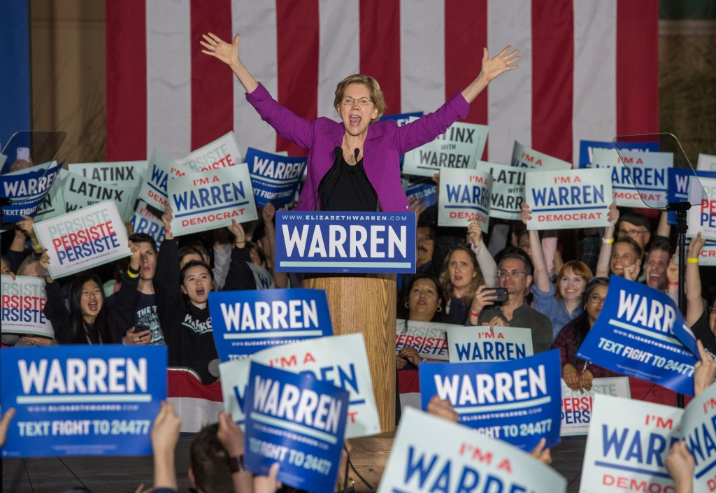 Former Democratic presidential candidate Massachusetts Senator Elizabeth Warren speaks to her supporters during a campaign rally on the eve of the California Democratic Primary in Monterey Park, California on March 2, 2020.