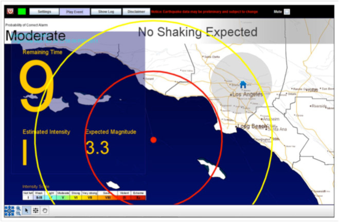 Screenshot of the User Display of CISN ShakeAlert during the 2011 M3.3 Channel Island earthquake in Southern California.