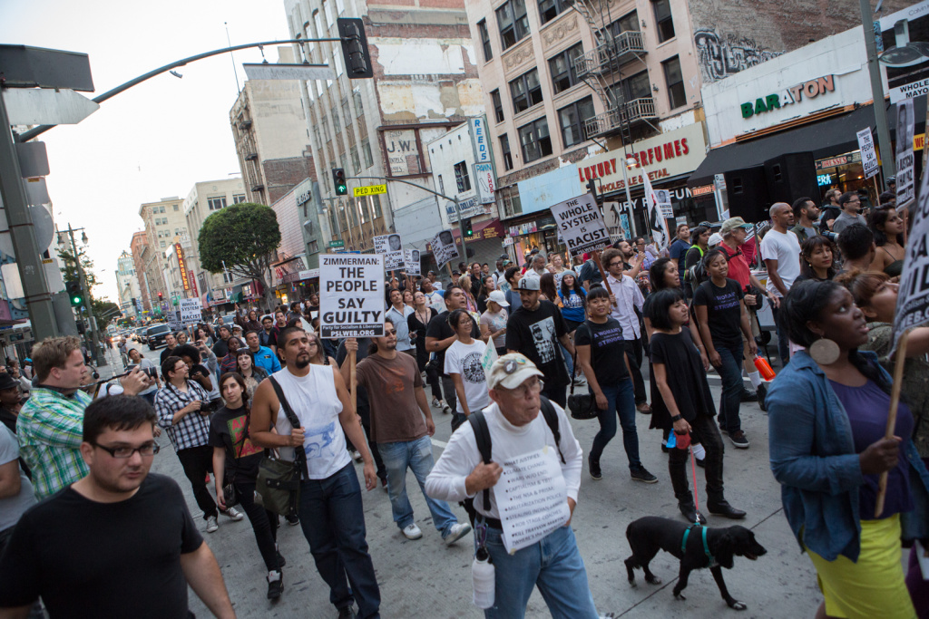 Police in San Bernardino are trying to determine if vandalism Thursday night was sparked by the acquittal of George Zimmerman in the shooting death of Trayvon Martin. (Photo: Hundreds of protesters march through downtown Los Angeles on July 16, 2013 in response to the George Zimmerman case verdict).