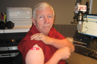 Steve Julian after receiving a flu shot.