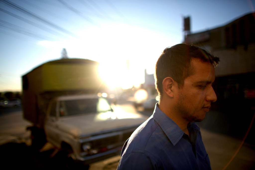 Former U.S. Marine Daniel Torres stands outside the Deported Veteran Support House, known as the The Bunker, in eastern Tijuana.