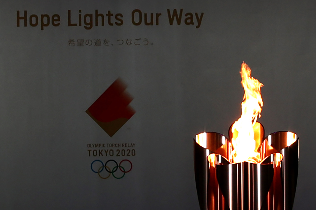 HIMEJI, JAPAN - MAY 23: The Olympic flame burns in the cauldron during day one of the Tokyo Olympic Torch Relay Hyogo at Himeji Castle on May 23, 2021 in Himeji, Hyogo, Japan.