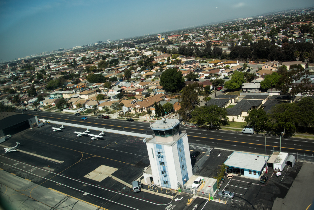The air traffic control tower at Hawthorne Municipal Airport was among about 200 towers on a list for closure but was not on the final list.   The tower at Fullerton's airport was slated for closure April 7, before the FAA delayed the closures.