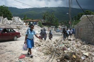 Despite the rubble and lack of permanent housing in post-quake Haiti, one positive sign is the vast number of children who have been able to return to school.