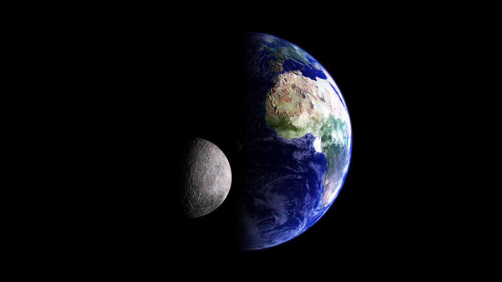 Earth and its moon, computer graphic.
