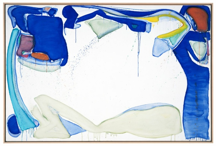 Sam Francis, 3 Blue, 1952. Oil on canvas, 38 1/4 x 57 1/4 inches. University of California, Berkeley Art Museum and Pacific Film Archive; Bequest of Marcia Simon Weisman Foundation, 1995.51.4.