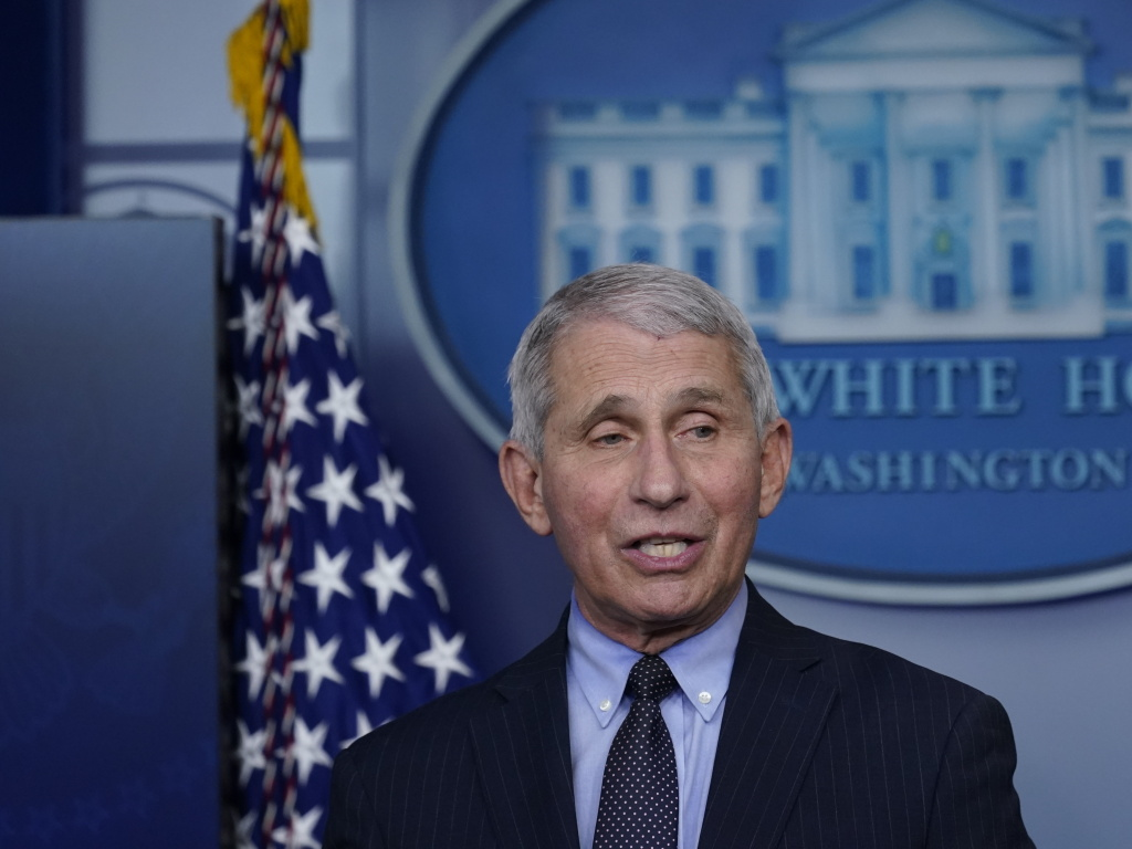 Dr. Anthony Fauci, director of the National Institute of Allergy and Infectious Diseases, at the White House Jan. 21. On Wednesday he urged Americans to limit their Super Bowl watch parties to household members.