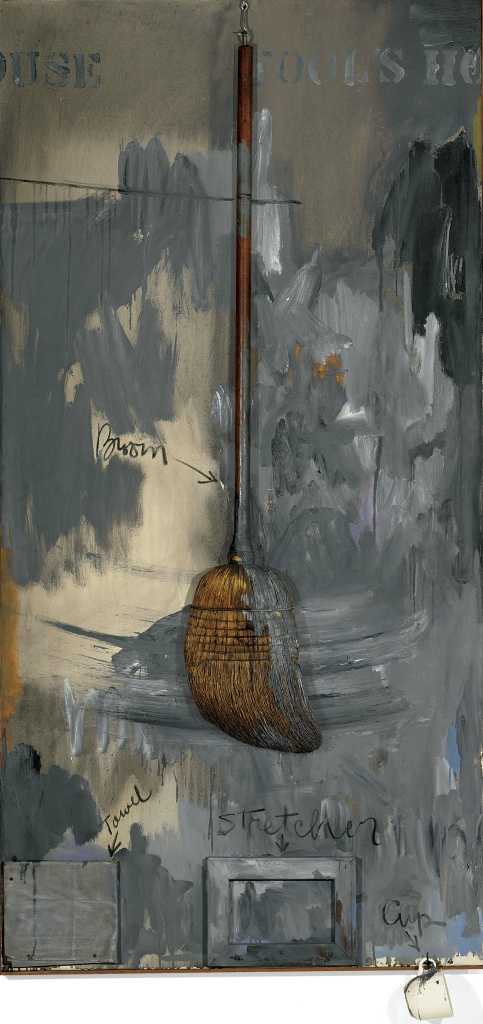 Jasper Johns, Fool's House, 1961–62. Oil on canvas with broom, sculptural towel, stretcher and cup