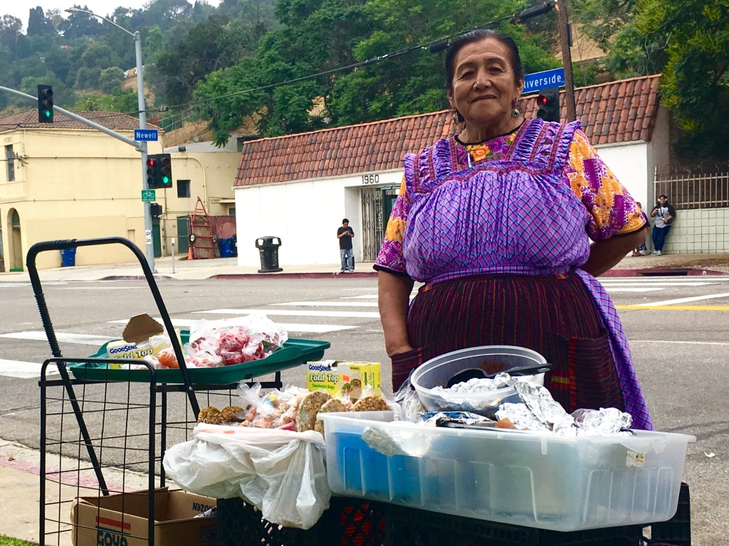 Alva Rojas voted in Sunday's election and sold traditional Guatemalan food outside the consulate to fellow voters.