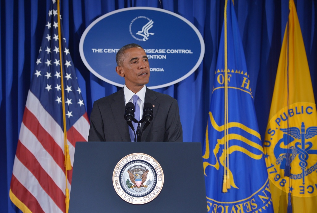 President Barack Obama speaks following meetings at the Centers for Disease Control and Prevention on September 16, 2014 in Atlanta, Georgia. Obama urged a global expanded effort to fight the deadly disease, as he unveiled a major new US initiative which will see 3,000 military personnel posted to West Africa to combat the health crisis.