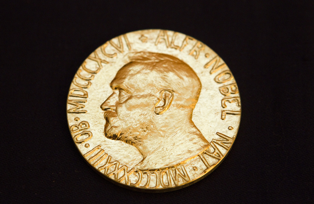 The front of the Nobel Peace Prize medal.