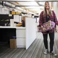 Female skater Cindy Whitehead will be inducted into Skateboarding Hall of Fame in May. Whitehead skates through KPCC's newsroom on Friday morning, April 8, 2016.