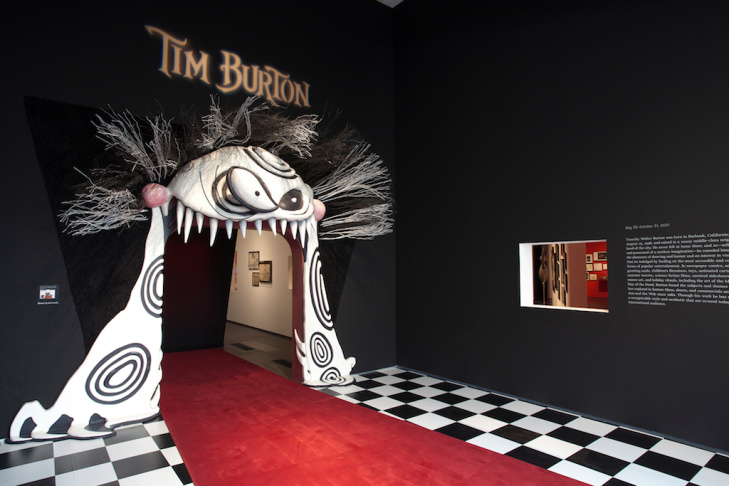 A view of the entrance to Tim Burton's exhibit at LACMA. The show, which opened in May, comes to a close midnight on Halloween, Burton's favorite holiday.