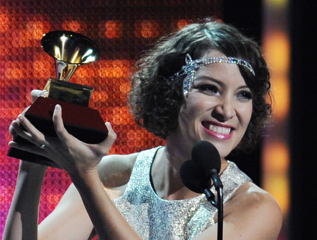 Gaby Moreno accepts the Grammy for Best New Artist at the 14th annual Latin Grammy Awards, November 21, 2013 at the Mandalay Bay Resort and Casino in Las Vegas, Nevada.