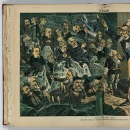 "A political illustration from the humor magazine, ""Puck,"" in the July 4, 1883 edition. It shows Uncle Sam putting politicians, newspaper editors, and others on ""Ice"" in an icehouse to keep them cool until campaign time for the presidential election."