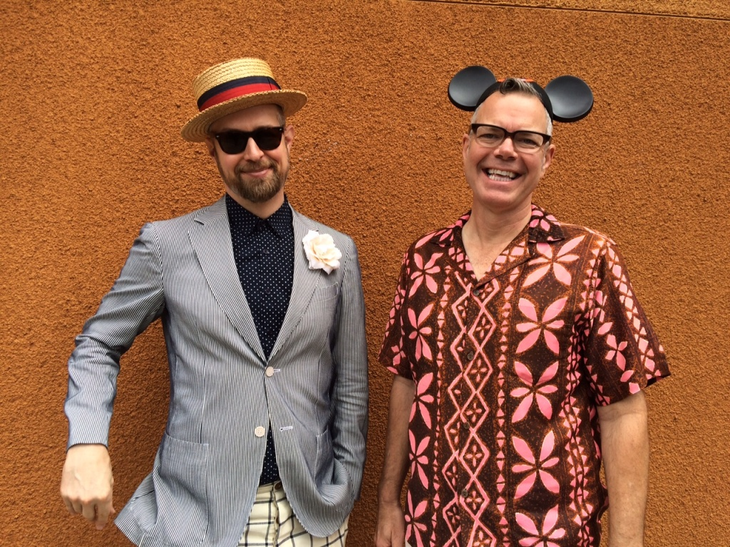 Dapper Day creator Justin Jorgensen, left, stands with Charles Phoenix, right, at KPCC studios on Tuesday, September 15, 2015.