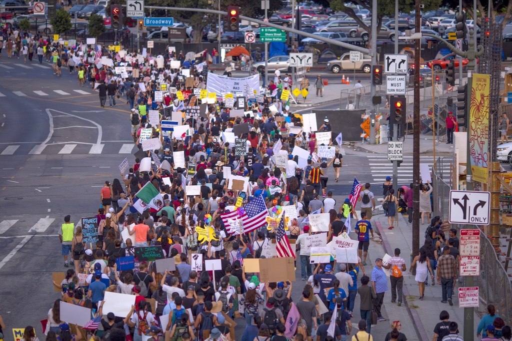 Thousands of immigrants and supporters join the Defend DACA March to oppose the President Trump order to end DACA on September 10, 2017 in Los Angeles, California. The Obama-era Deferred Action for Childhood Arrivals program provides undocumented people who arrived to the US as children temporary legal immigration status for protection from deportation to a country many have not known, and a work permit for a renewable two-year period. The order exposes about 800,000 so-called