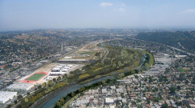 A rendering of what a revitalized Los Angeles River could look like.