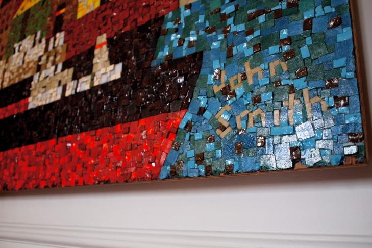 The John Smith mosaic mural inside Gregory Johnson's apartment