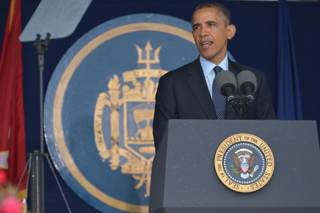 US President Barack Obama delivers the commencement address during the US Naval Academy the graduation ceremony at the Navy-Marine Corps Memorial Stadium on May 24, 2013 in Annapolis, Maryland. Obama spoke about sexual abuse cases in the armed forces.
