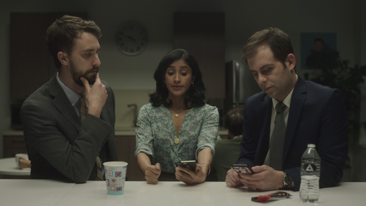 (L-R) Matt Ingebretson, Aparna Nancherla and Jake Weisman in the Comedy Central series,