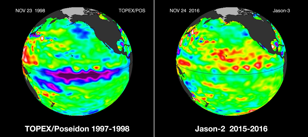 A strong La Niña from the winter of 1997-1998 (left), compared to this year's much less powerful La Niña (right). Photo: NASA / JPL.