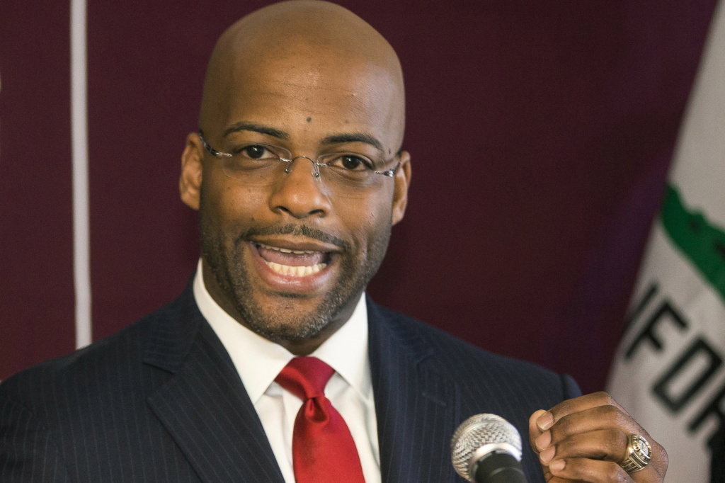 Assemblyman Isadore Hall ( D-Compton), shown in this file photo, is the favorite in a special election Tuesday to replace state Sen. Rod Wright, who was sentenced for lying about where he lived when he ran for office.