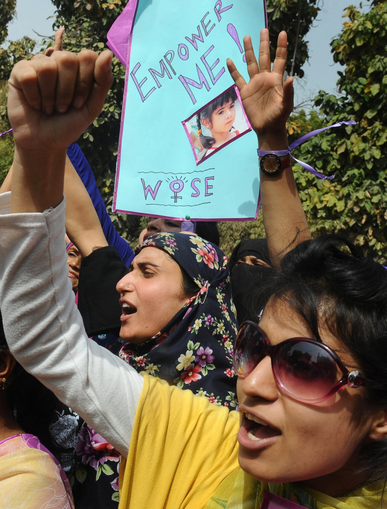 Pakistani NGO activists at a rally in Lahore on March, 7, 2012 on the eve of International Women's Day. International Women's is observed annually on March 8, highlighting the economic, political and social achievements of women past, present and future.