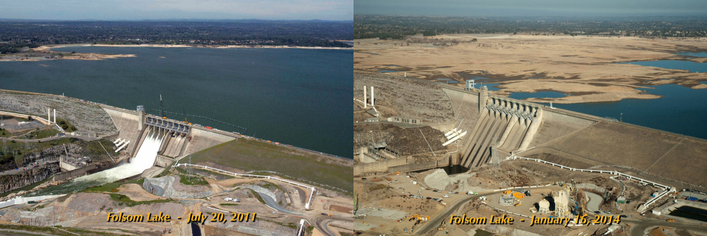 In the July 20, 2011 view on the left, Folsom Lake was at 97 percent of total capacity and 130 percent of its historical average for that date. In the Jan. 16, 2014 shot, the lake was at 17 percent of capacity and 35 percent of its historical average.