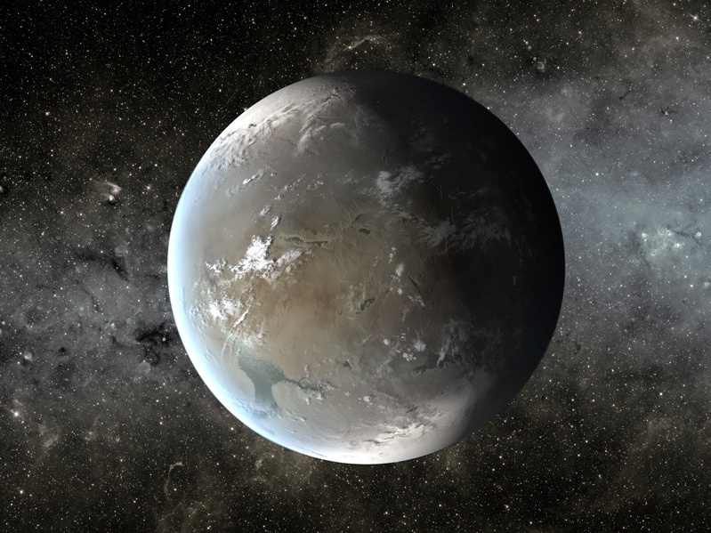 This is an artist's illustration of Kepler-62f, a planet in the