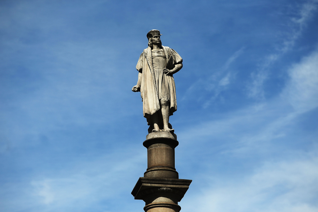 A 76-foot statue of explorer Christopher Columbus stands in Columbus circle on August 23, 2017 in New York City.