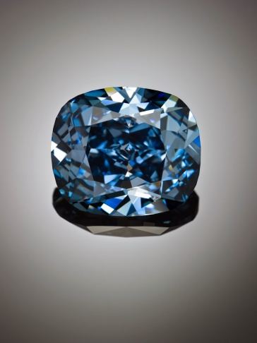 The Blue Moon Diamond, an internally flawless 12-carat diamond, will be on display at the Natural History Museum of Los Angeles County through Jan. 6, 2015.