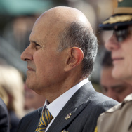 Former Los Angeles County Sheriff Lee Baca attends the ceremony for the newly renovated Hall of Justice building in downtown.