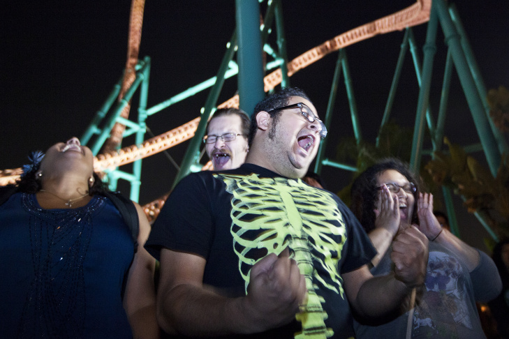 Supervisors pump up scare actors at Knott's Berry Farm by asking them to scream during a training session on Tuesday, Sept. 17. About 1,000 actors take part in the park's month-long Haunt each year.