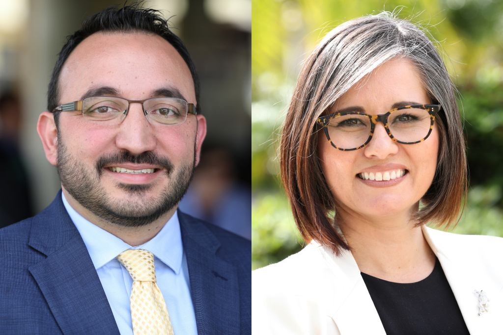 Karo Torossian, left, and Monica Rodriguez are in a May runoff election for the open seat representing Council District 7 in the northeast San Fernando Valley.