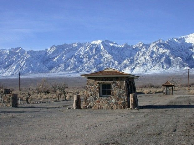 The entrance to the Manzanar National Historic Site in the arid Owens Valley, the location of one of ten internment camps in which Japanese Americans were held during World War II.