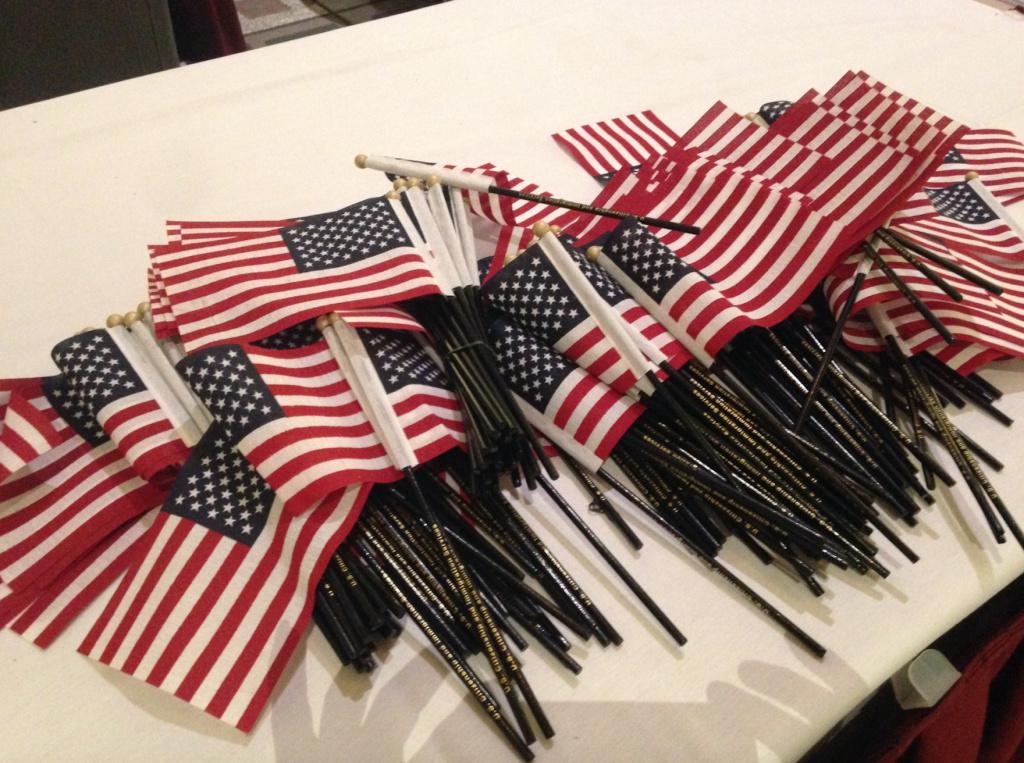 Miniature flags at a U.S. citizenship ceremony at the Pasadena Convention Center, Nov. 15, 2016.